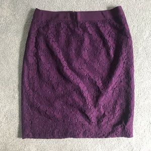 J.Crew Plum Colored Floral Lace Pencil Skirt